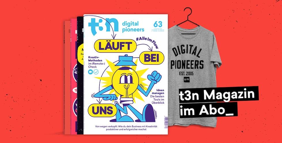 4er-Heftstapel und Digital-Pioneers-Tshirt
