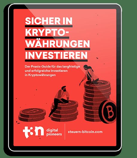 """Zu sehen ist das Cover des t3n Guides """"Sicher in Kryptowährungen investieren"""", dargestellt in einem iPad"""